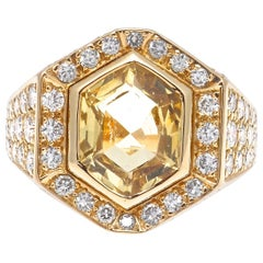 Cartier Yellow Sapphire Diamond Gold Ring