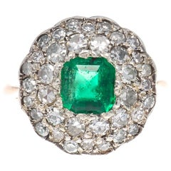 Edwardian Emerald Diamond Gold Cluster Ring