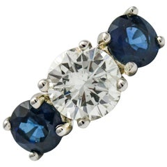 2.95 Carat 14 Karat White Gold Classic Diamond Sapphire Three-Stone Ring