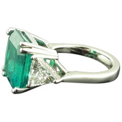 9.76 Carat Square Cut Columbian Emerald and Diamond Ring Set in Platinum