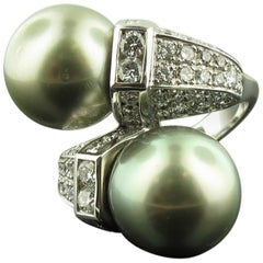 Matched Tahitian Pearl and Diamond Cross-Over Ring in 18 karat white gold