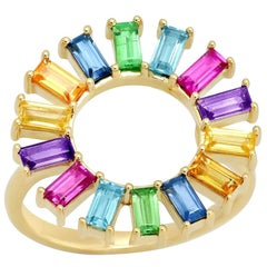 1.50 Carat TW 14 Karat Gold Baguette Flower Ring with Colored Gems, Ben Dannie