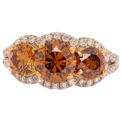 Platinum Ring 2.50 Carat Round Brilliant GIA Natural Deep Orange Diamonds