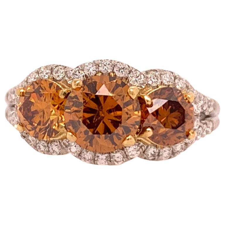 Platinum Ring 2.50 Carat Round Brilliant GIA Natural Deep Orange Diamonds For Sale