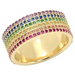 2.25 Carat Rainbow 6-Row Band Sapphires, Amethysts, and Emeralds, Ben Dannie