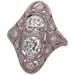 Platinum 1.75 Carat Old Mine Natural Round Brilliant Diamond Ring, circa 1930