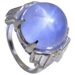 Blue Star 30 Carat Sapphire Cabochon Diamond Baguette Platinum Ring