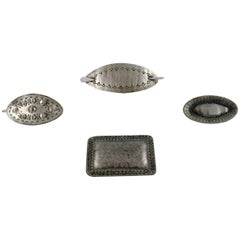 Jorgen Jensen, a.o. Denmark, 4 Brooches in Pewter