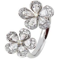 Studio Rêves 18 Karat Gold and Rose Cut Diamond Floral Cocktail Ring