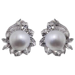 Diamond and Australian Pearl Gold Earrings
