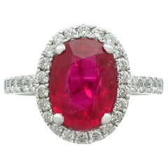 Vintage 3.75 Carat Ruby and Diamond White Gold Cluster Ring Circa 1990