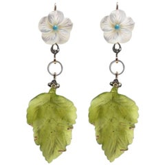 Mother of Pearl and Jade Dangle Gold Earrings