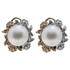 Diamond and Australian Pearl Earrings
