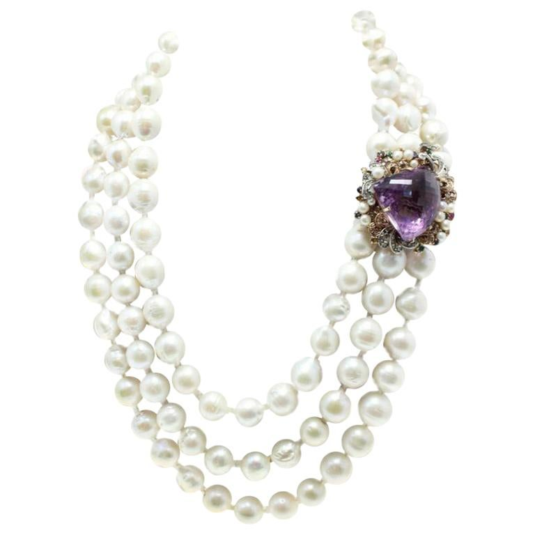 Beaded Multi Strands and Amethyst Gold Clasp Necklace For Sale