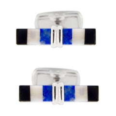 Jona Mother of Pearl, Lapis Lazuli and Onyx Bar Sterling Silver Cufflinks