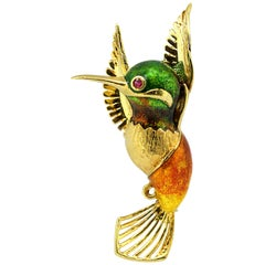 "18 Karat Yellow Gold Brooch ""Hummingbird"" Brooch with Enamel"