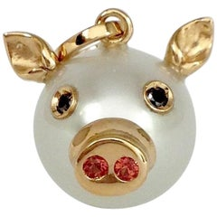 Pig Black Diamond Sapphire 18 Karat Gold Pearl Pendant or Necklace