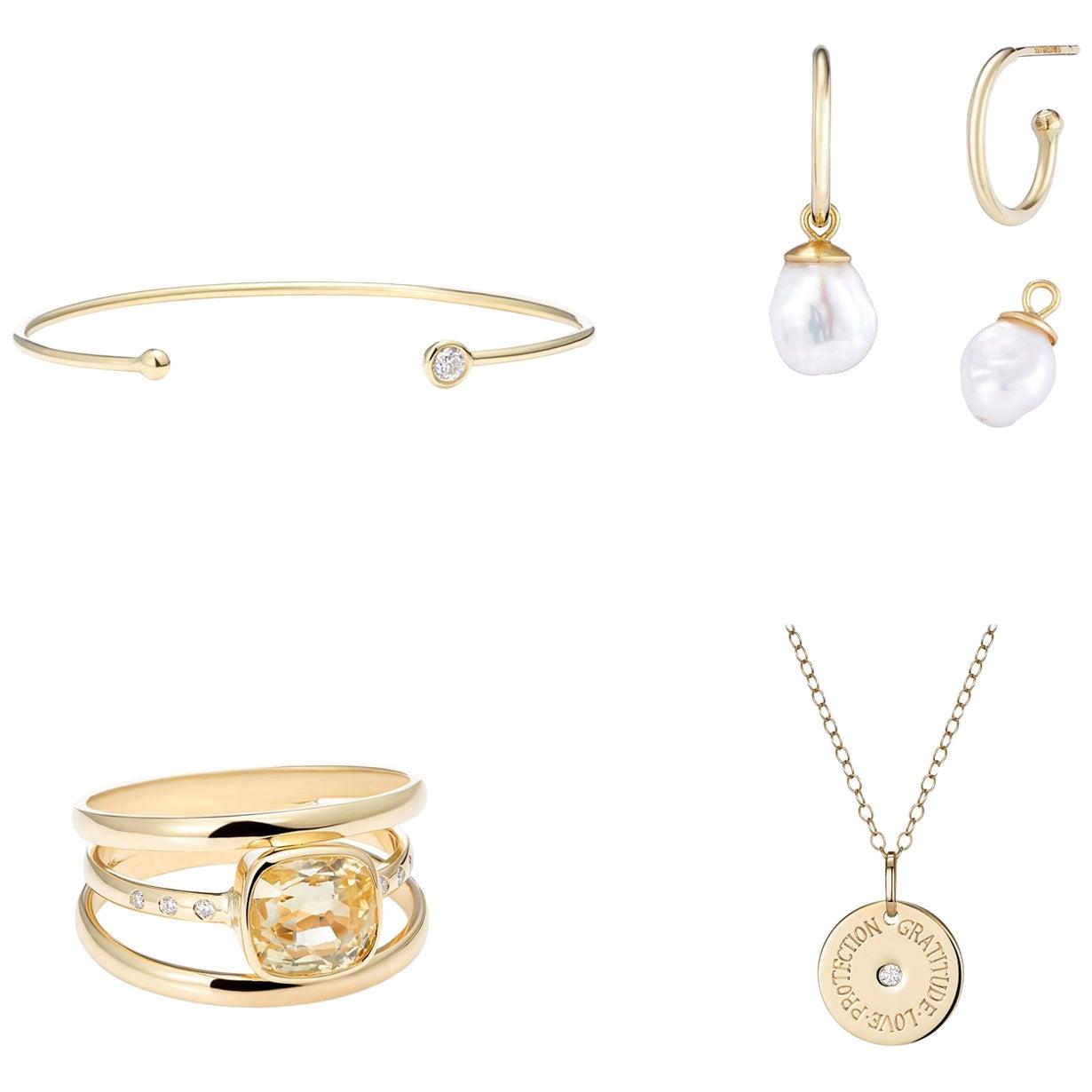 4 Piece Suite Gold White Diamonds, No Heat Sri Lankan Yellow Sapphire and Pearls