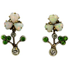 Art Deco 18k gold ladies stud earrings with natural opal, peridots & diamonds