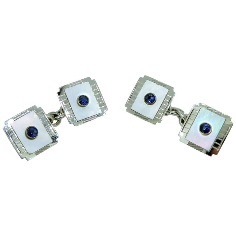 Art Deco Sapphire and Mother of Pearl Cufflinks, White Gold, circa 1920s For Sale