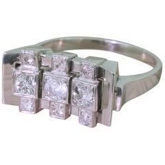 Retro 0.69 Carat Old European Cut Diamond Nine-Stone Ring