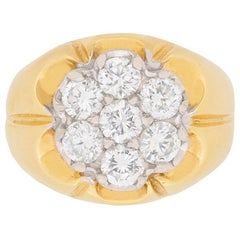 Vintage 1.75 Carat Diamond Daisy Cluster Ring, circa 1980s