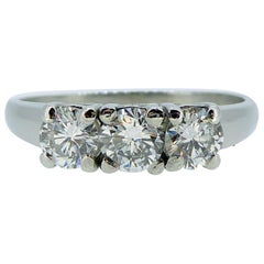 1.0 Carat Three-Stone Diamond Ring, Platinum Band, Pre-Owned