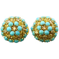 Vintage Ladies 18 Karat Gold Clip-On Earrings with Diamonds and Turquoise