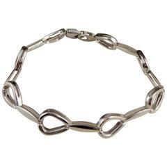 Pre-Owned White Gold Designer Bracelet, Horseshoe Shaped Links