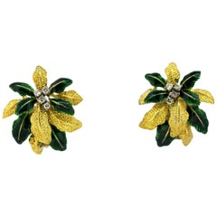 18 Karat Gold Clip on Earrings with Diamonds and Green Enamel Leafs