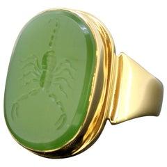 18 Karat Gold Ring with Scorpion / Scorpio Natural Jade Carving