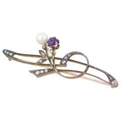 Art Nouveau Pearl, Amethyst and Rose Cut Diamond Pin Brooch