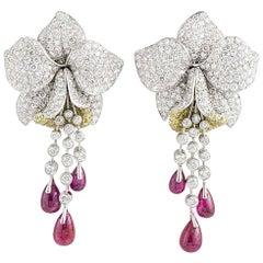 Cartier Caresse d'Orchidees Ruby Diamond Platinum Earrings