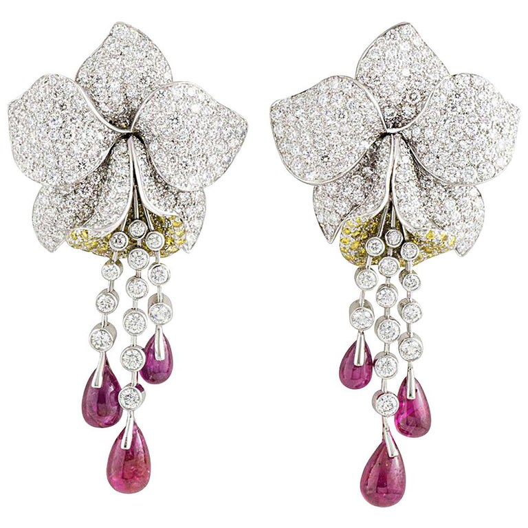 Cartier Caresse d'Orchidees Ruby Diamond Platinum Earrings For Sale