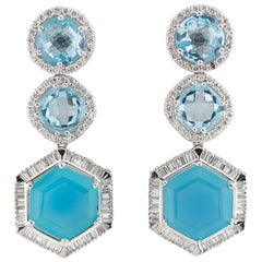 Diamond and Topaz Drop Earrings 35.30 Carat
