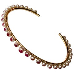 Akoya Pearls and Rubies 18K Rose Gold thin Bracelet by Frederique Berman