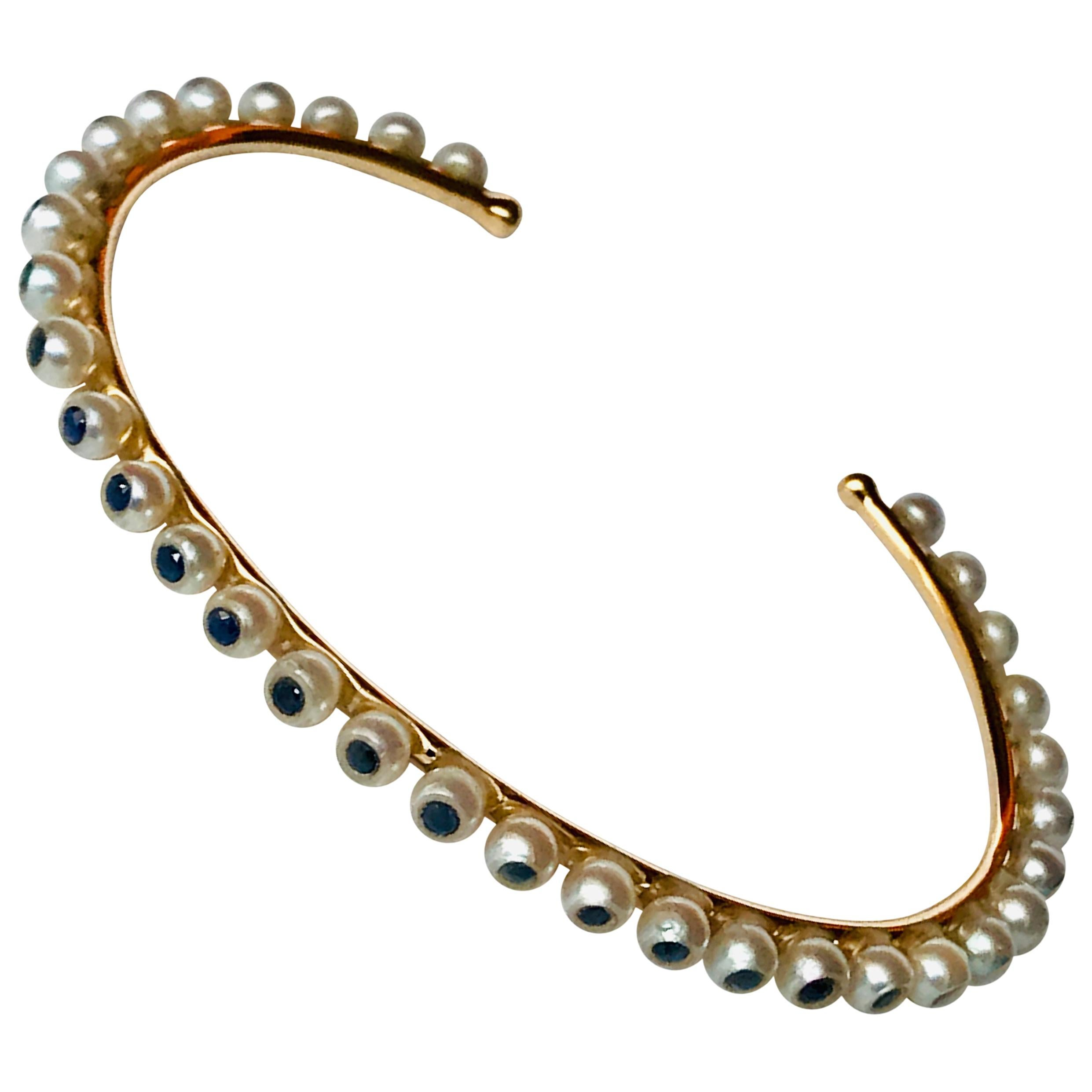 e5d29458cec Akoya Pearls and Rubies 18K Rose Gold thin Bracelet by Frederique Berman at  1stdibs