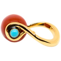 18K Rose Gold, Red Coral and Turquoises Ring by Frederique Berman