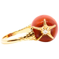 Red Coral and Diamonds Starfishes 18K Gold Ring by Frederique Berman
