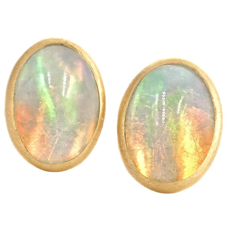 Petra Class Fiery Oval Ethiopian Opal Petite Gold Stud Earrings For Sale