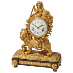 Louis XV Lion Mantel Clock Gilded Bronze, circa 1770