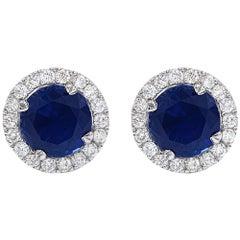 3.34 Carat Blue Sapphire .47 Carat Diamond Jacket Stud Earrings