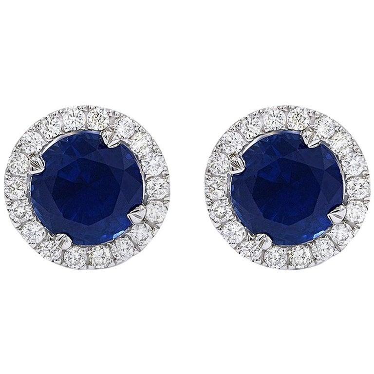 3.34 Carat Blue Sapphire .47 Carat Diamond Jacket Stud Earrings For Sale