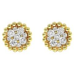 .85 Carat Round Brilliant Cut Diamond Stud Earrings 14 Karat Yellow Gold