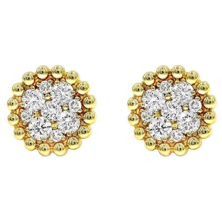 .85 Carat Round Brilliant Cut Diamond Stud Earrings 14 Karat Yellow Gold For Sale