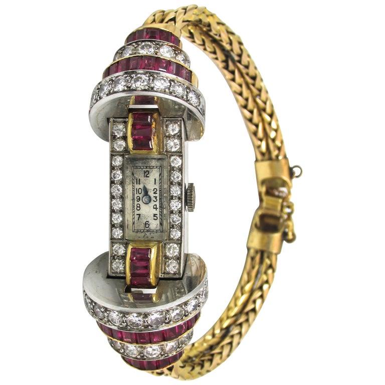 Ladies Platinum Yellow Gold Diamond Ruby Retro Wristwatch For Sale