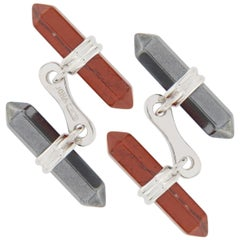 Jona Red Jasper and Hematite Bar Sterling Silver Cufflinks