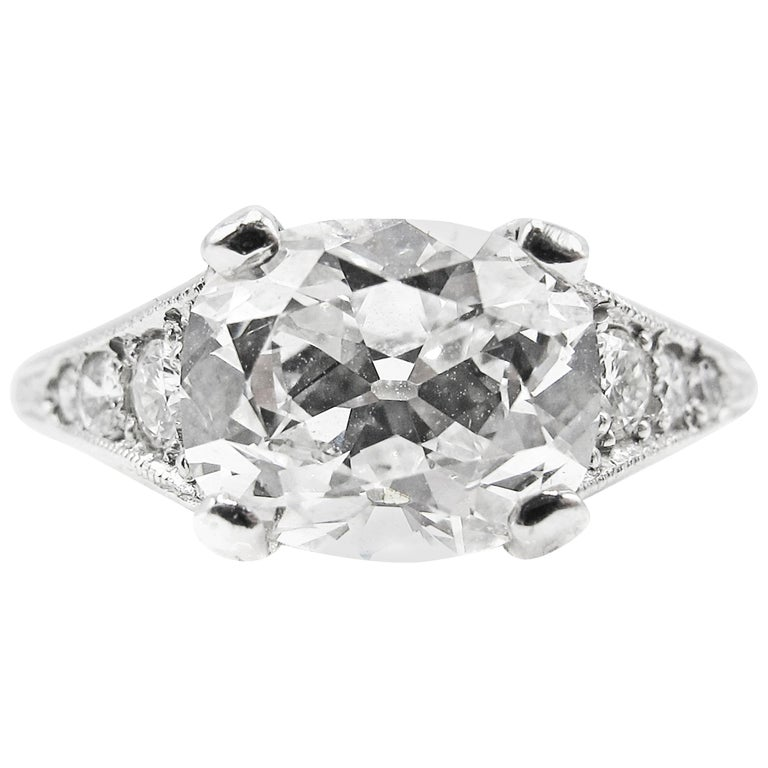 2.01 Carat GIA Certified Cushion Brilliant Diamond Platinum Engagement Ring For Sale