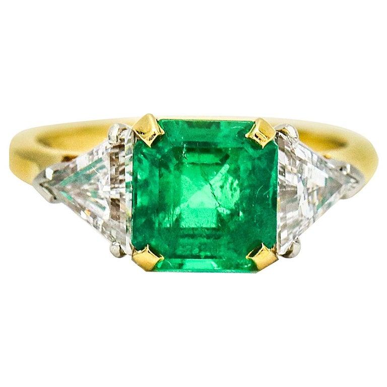 3.45 Carat 18 Karat Gold Platinum Emerald Diamond Three-Stone Ring For Sale