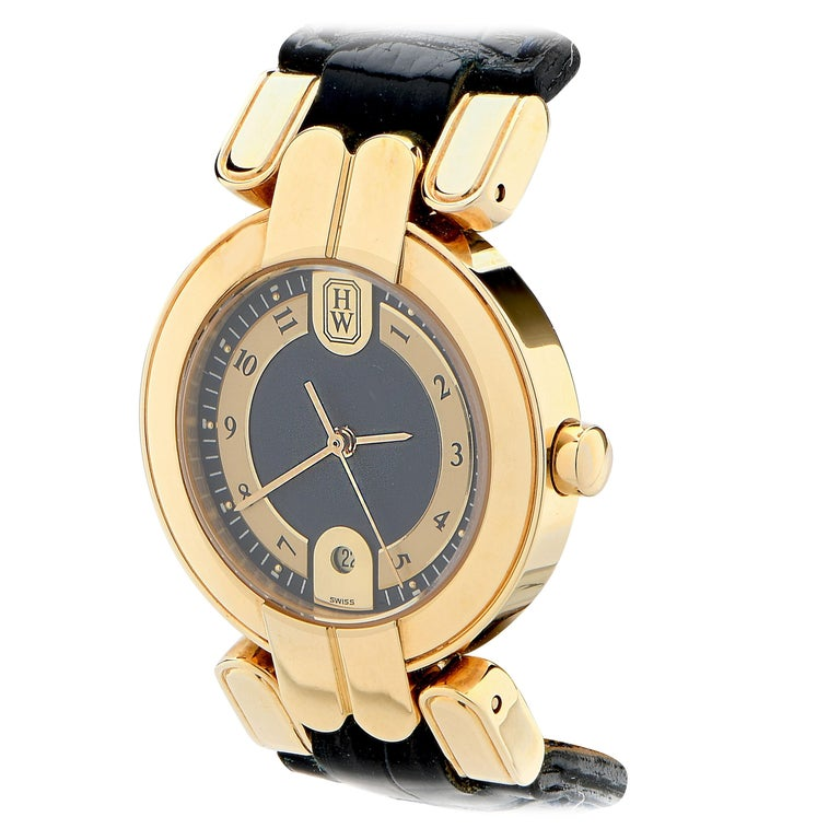 Harry Winston Vintage Never Been Worn Lady's Premier 18 Karat Yellow Gold Watch For Sale